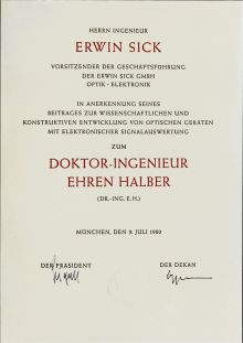 Erwin Sick erhält Doktor-Ingenieur