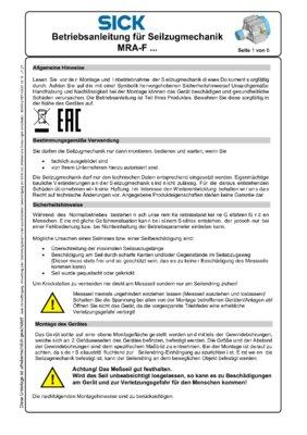 Montage- und Betriebsanleitung für Seilzugmechanik MRA-F...
